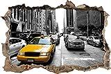 Pixxprint 3D_WD_5094_62x42 gelbes Taxi in New York Wanddurchbruch 3D Wandtattoo, Vinyl, schwarz / weiß, 62 x 42 x 0,02 cm