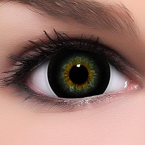Linsenfinder Lenzera Circle Lenses schwarze 'Choco Black' ohne Stärke + Kombilösung + Behälter Big Eyes 15mm farbige Kontaktlinsen