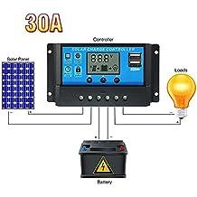 10A/20A/30A batería de 12V/24V Panel Solar regulador de controlador de carga solar con pantalla LCD Auto temporizador lámpara LED iluminación de protección de sobrecarga, White solar controller, 65A