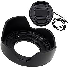 Fotodiox Kit paraluce per Sony E PZ, 16–50mm, F3.5–5.6OSS, E-mount, lente power zoom con paraluce a tulipano, con tappo coprilente per obiettivo per Sony A5000, A6000, NEX-5T, NEX-6