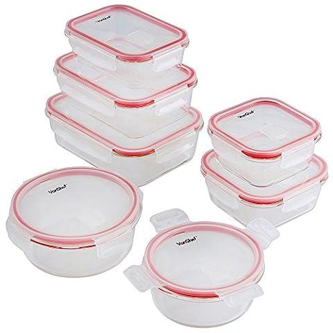 VonShef Lot de 7 Récipients/Boites alimentaires en Verre avec couvercle plastique expulseur