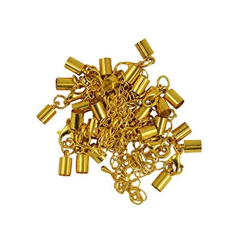 MagiDeal 12 Stk. Karabinerverschluss Endkappe DIY Schmuck Herstellung - Gold -