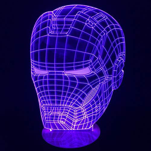 Novità 3d holograma iron man casco zucche di halloween luz de led nightlight usb 7 colore che cambia camera da letto lampada deco maison