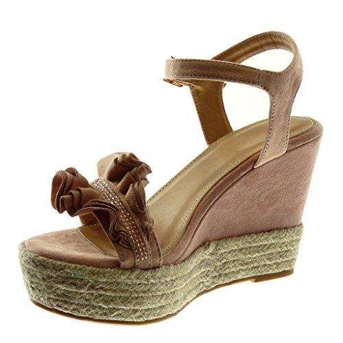 942dadb8d290 Angkorly Damen Schuhe Sandalen Espadrilles - Plateauschuhe - mit Rüschen -  Strass - Seil Keilabsatz High ...