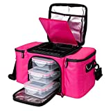 Prozis BeFit Bag Borsa di Alta Qualità per il Trasporto dei Pasti. Lunch Box Termica con 3 Contenitori per il Corretto Trasporto degli Alimenti e 2 Buste Refrigeranti, Rosa