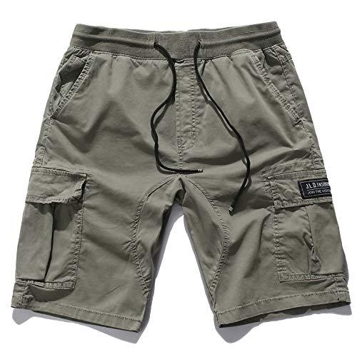 KEFITEVD Herren Shorts Bermuda Sommer Kurz Hose Safari Angeln Shorts mit Kordelzug Übergröße Halblang Wanderhose Trekkingshorts Reisen Grau 50/M (Etikett 34)