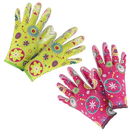 garten handschuhe com-four® 2er Set Gartenhandschuhe Flower, Größe 8, grün & pink (02 Paar - Flower grün/pink)