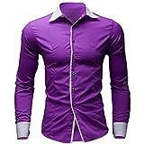 Herren Tops,TWBB Revers Einfarbig Business Shirt Männer Oberteile V-Ausschnitt Lange Ärmel Schlank Hemd Bluse Persönlichkeit Sweatshirts