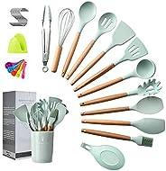 Spatula set, Kitchen Utensils Set, 16 pieces, Silicone Spatula set, Wooden Spoon, Wooden Utensils Tool for Non