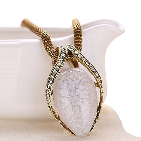 Women's Vintage Bohemian Teardrop Pendant Opal Crystal Diamond Alloy Chunky Chain Short Necklace (White)