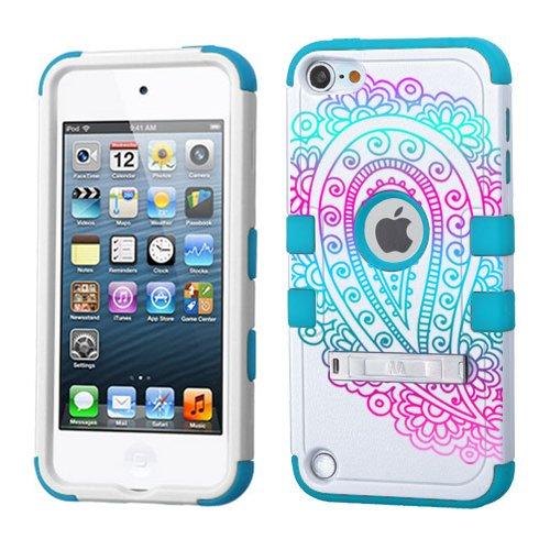 iPod Touch 5. 6. Generation Weiß Kunststoff/Blau Silikon 3-Stil Hybrid Hard Schutzhülle für Apple- für Mädchen und Boys-Shockproof Staubfrei, mit Ständer, Paisley Ombre