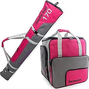 Brubaker Kombi Set Carver PRO – Limited Edition – Skisack und Skischuhtasche für 1 Paar Ski 170 cm oder 190 cm + Stöcke + Schuhe + Helm Pink Grau