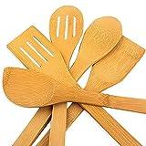 hollylife 5PCS Ustensiles de Cuisine en Bois pour Poêle antiadhésive Outil de Cuisine Ensemble Accessoires Complet Bambou 30CM cuillère Spatula Turner Non Toxiques déformation durabilité Ergonomique