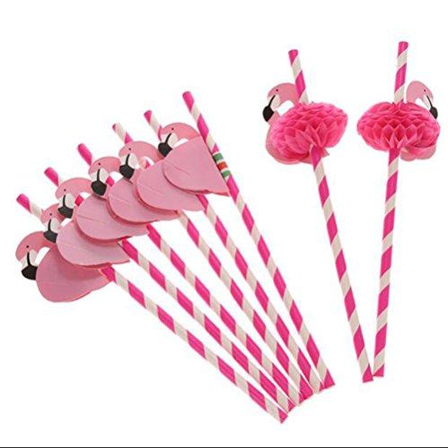 (Pack von 12 Flamingo Waben Strohhalme für Hawaii Geburtstag/Pool Cocktail Party Supplies Tropical Getränke Dekorationen, ROSE)
