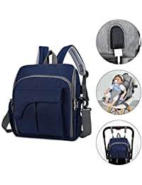 Kinbor Baby Diaper Bag Backpack with Stroller Straps and Changing Pad Seat