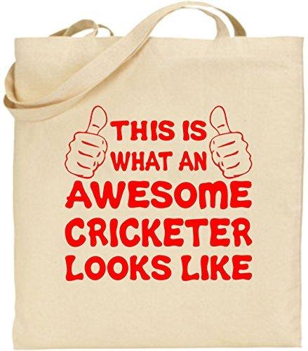 Canvas Tote Bag Awesome Cricketspieler Leinwand Cricket Funny Kit Geschenk wiederverwendbar Umweltfreundlich Einkaufstasche waschbar Tragetasche für Frauen