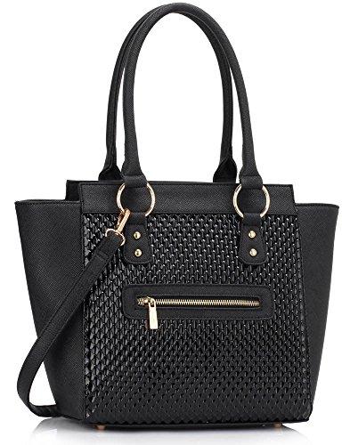 LeahWard Damenmode Designer Berühmtheit Tote Taschen Damen Qualität Kunstleder Schultertasche Handtasche Mit Strap CWS00414 (Schwarz)