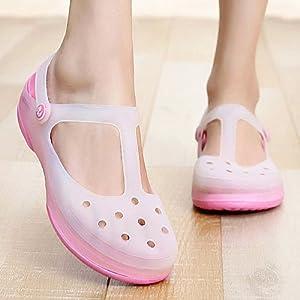 Qingchunhuangtang@ Foro di Decolorazione Calzatura Morbida Pendenza di Fondo con Sandali di Plastica Jelly Scarpe da Spiaggia Infermiera Pantofole Fondo Spesso E Raffreddare Le Pantofole