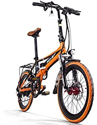 RICHBIT Electric City Bike rt700 eBike Klapprad 250 W * 48 V 8 Ah LG Akku 7Speed 7 Gänge ausgestattet Handy Ladegerät & Halterung doppelt Mechanische Bremse, 20 in Schleiftopf mit Rückseite Schläger City Pendeln Bike Shimano Umwerfer Lange dauert, New Fashion Malerei orange