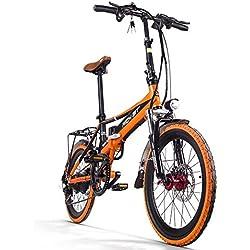 Ciudad Eléctrica richbit bicicleta rt700para bicicleta plegable bicicleta Ciclismo 250W * 48V 8Ah LG recargable 7Speed 7marchas Equipada funda para teléfono cargador y soporte para doble freno de disco mecánico 20en rueda con back raqueta ciudad Commute para bicicleta marchas Shimano larga duración nueva moda pintura naranja