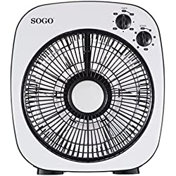 Sogo Ventilateur Box Fan de Diametro 10avec fonction vibrante, grille rotatif, 40W, 3vitesses, minuterie et moteur silencieux, Couleur Blanc.