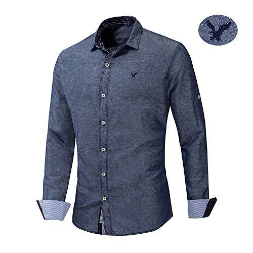 X&Armanis Businesshemd für Herren, atmungsaktives Besticktes Baumwoll-Hemden lässiges Revers-Langarm-T-Shirt (Denim Black Ash),XL (Herren Bestickt Denim)