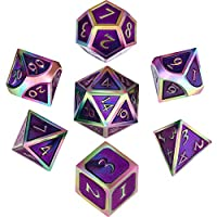 Hestya 7 Pieces Metal Dices Set DND Game Polyhedral Solid Metal D&D Dice Set with Storage Bag and Zinc Alloy with Enamel for Role Playing Game Dungeons and Dragons, Math Teaching (Colorful Purple)