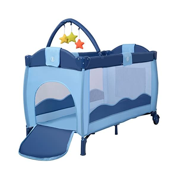 COSTWAY Portable Infant Baby Travel Cot, Bed Play Pen, Child Bassinet Playpen Entryway, with Mat 2 in 1 (Blue) Costway 【Excluded locations】Guernsey, JERSEY, Channel Islands, Isle of Man, Scilly Isles, Scottish Islands, PO BOX 【Folded Design】Due to its folding design, you can take it to anywhere as you like by packing it in the supplied carry bag, and it just takes you a while to fold or unfold it before using. 【See-through safety mesh】It features mesh cloth on both sides, this netted areas allow your baby to see out clearly as well as an onlooker to see in to her/him, and it also offers great ventilation for your baby. 6