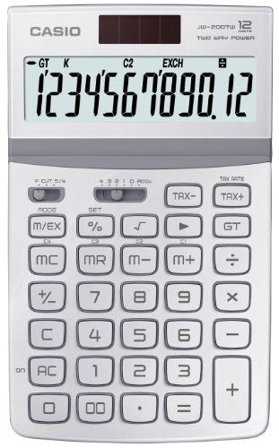 CASIO JW-200TW-WE-S-EH - Calculadora básica, 26.1 x 107 x 178.5 mm, blanco
