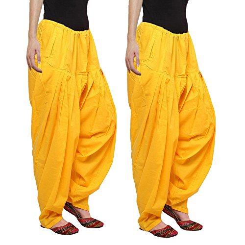 Aadhar Creations Yellow Patiala Salwars (Pack of 2)
