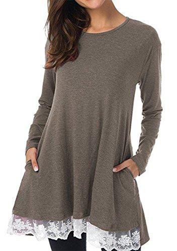 Robe tunique à manches longues en dentelle à manches longues et col rond pour femme Marron