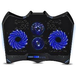 """EMPIRE GAMING - Refroidisseur pour PC Portable Gamer Wind Tornado Blue - 4 Ventilateurs réglables LED Bleu - Refroidissement Silencieux et Puissant- pour Les PC Portables de 10"""" à 15,6"""""""