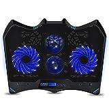 EMPIRE GAMING - Refrigeradorpara PC portátil Gamer Wind Tornado Blue: ultra potente con 4 ventiladores LED azulessilenciosos - Refrigerador ideal para PC portátiles de 10' a 15,6'
