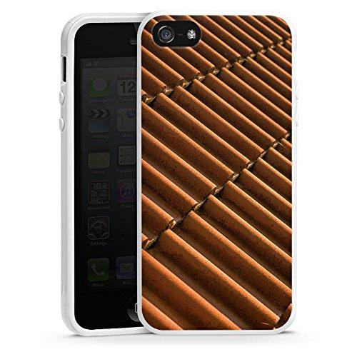 Apple iPhone 5s Housse Étui Protection Coque Tuiles Look tuiles Motif Housse en silicone blanc