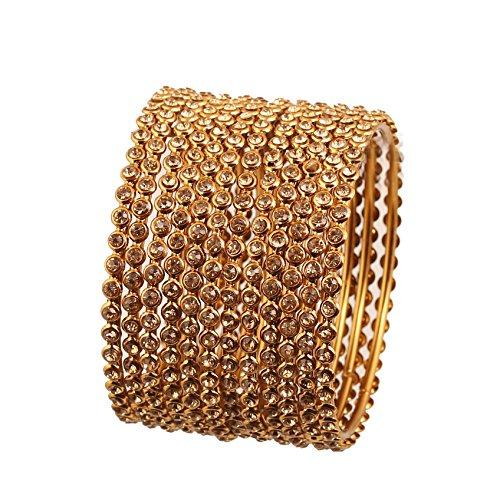 Strass Traditional Single Line Atemberaubende indischen Bollywood Designer Schmuck Metall Armreif Armbänder in Antik Gold Ton für Frauen. Set von 12. ()