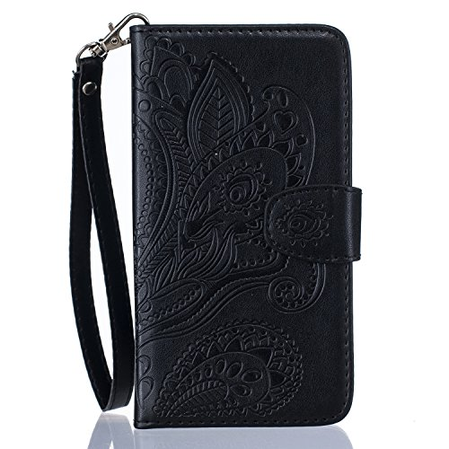 Schutzhülle für iPhone 6s Plus Tasche Gold,BtDuck Solide Slim PU Leder Flip Cover Hülle Lanyard Ledertasche Wallet Case Blossom Blume Elegant Embrossed Handytasche für iPhone 6 Plus 5,5 Zoll Cases Etu Lila