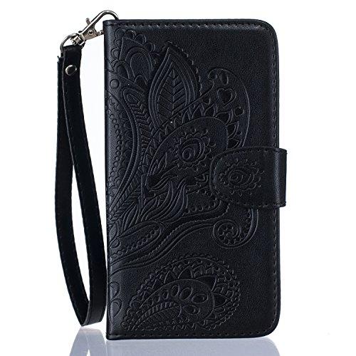 Cozy Hut ® iPhone 6 Plus Cover, iPhone 6S Plus Custodia in pelle, Copertura di Vibrazione pelle con Magnete Flip Motivo floreale Peacock Case Stile del Libro di pelle della Protezione di caso del basa nero