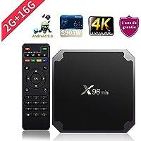 SUNNZO X96mini Android 9.0 TV Box con procesador Amlogic S905W Quad Core de 64 bits 2GB RAM+16GB ROM,WiFi,4K HD,H.265(2+16GB)
