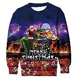 Funnycokid Bambino Ugly Christmas Sweater Maglione T Shirt 3D Stampato Dinosauro Unisex Ragazza Xmas Natale Pullover Felpa