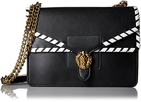 Anne Klein Diana Large Double Flap Chain Bag, Black-Natural/Optic White/Whip Stitch