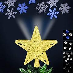Idea Regalo - Bakaji Christmas Puntale con Proiezione Luci a LED su Soffitto per Albero di Natale Forma Stella 4 Giochi di Luce Dimensioni 24 x 7 cm (Oro)