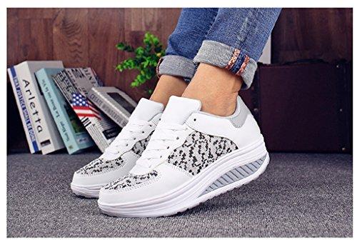 Newzcers, Blanco / Gris Calzado Deportivo De Mujer