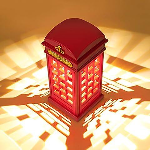 London Telefonzelle Nachttischlampe, MECO Dimmbare LED Nachtlicht Atmosphäre-Lampe Leselampe mit 3.5mm USB Cable (NICHT MIT Batterie) für Zimmer Dekoration, Kinder, Weihnachten und Geburtstag Geschenk