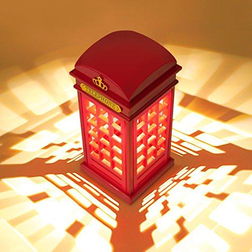 MECO Nachttischlampe, Tischlampe Dimmbare LED London Telefonzelle Form Atmosphäre-Lampe mit 3.5mm USB Cable (Nicht MIT Batterie) Geschenken für Kindergeburtstag, Halloween und Weihnachten Rot