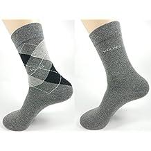 6 Paar Socken - 3 Uni Grau, 3 kariert