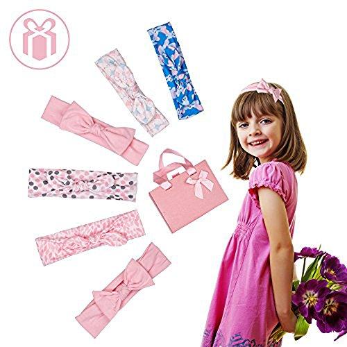 hen Haarband Baumwollstirnbänder Haarschmuck Bow-Knot Mode Boutique Stretchy Fotografieren Dekorativ Geschenk für Kinder Neugeborenes Kleinkind Säugling Teens Kinder (6 PCS) (Boutique Für Kleinkinder)