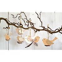 6er SET Dekohänger VÖGEL Holz - B - PIEP + 1 Dekoherzen aus Holz zum aufhängen