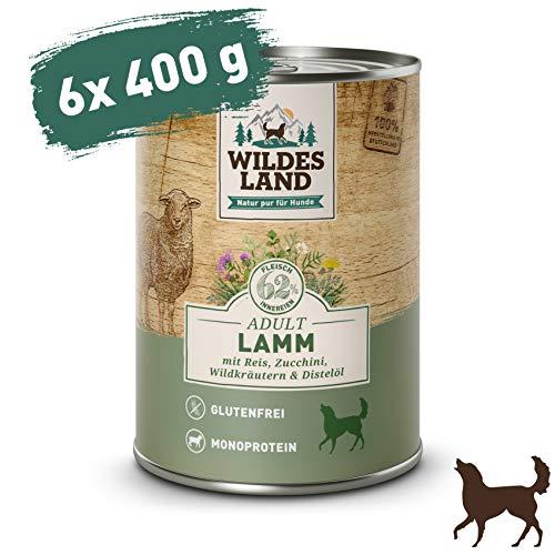 Wildes Land   Nassfutter für Hunde   Nr. 1 Lamm   6 x 400 g   mit Reis, Zucchini, Wildkräutern & Distelöl   Glutenfrei   Extra viel Fleisch   Beste Akzeptanz und Verträglichkeit