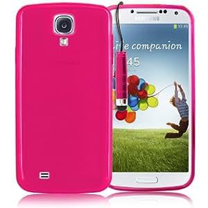 KOLAY® Samsung Galaxy S4 Hülle - Silikon Case Plain Style Schutzhülle in Pink + Eingabestift für das neue Samsung S4