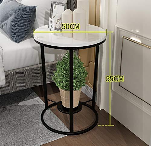 YWXCJ Tables Basses Petite Table Basse Salon côté canapé Coin Meuble Coin Mini Petite Table Ronde Table de Chevet en Fer forgé (Couleur : Noir, Taille : 50x55cm)